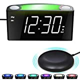 Loud Vibrating Alarm Clock for Heavy Sleeper/Deaf/Hearing Impaired, Large  Digital Clock with Bed Shaker, 7' LED Display&Full Range Dimmer,7-Color Night Light,2 USB Ports,Plug-In Clock&Battery Backup