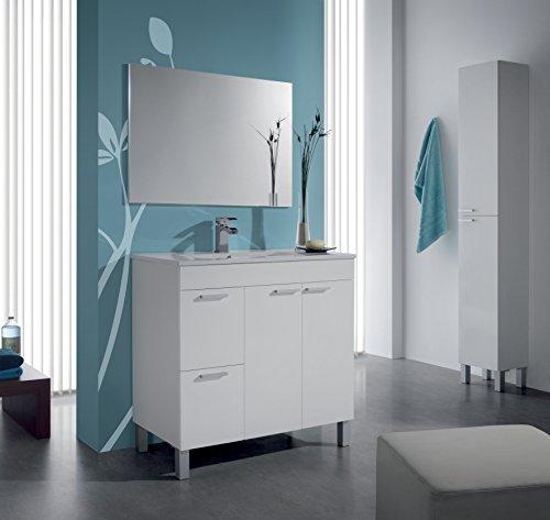 homevanity Armadietto da Bagno Aktiva, 2Ante, 2cassetti, Specchio e Immagine–Bianco 800