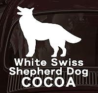PET-TEP ENT オリジナルペットシルエットカーステッカー 名入れ ホワイトスイスシェパードドッグ L 2.黒