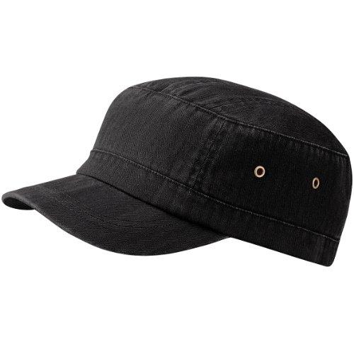 Beechfield - Casquette style armée 100% coton - Adulte unisexe (Taille unique) (Noir vintage)