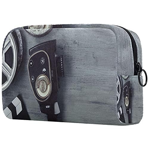 コンパクトメイクアップバッグポータブルトラベルコスメティックバッグ 女性用女の子トイレタリーバッグ,古い映画用カメラフィルムリールカチンコ