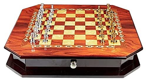 Juego de Madera Maciza de ajedrez con un Juego de Piezas de Metal de cajón Juego de ajedrez de Altura Rey Internacional (Size : 40x55x13cm)