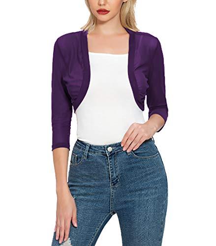 Tandisk Women's 3/4 Sleeve Shrug Open Front Cardigan Bolero Jacket Purple M