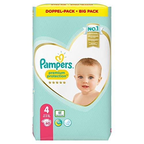 Pampers Premium Protection Windeln, Gr. 4, 9kg-14kg, Doppel-Pack (1 x 60 Windeln)