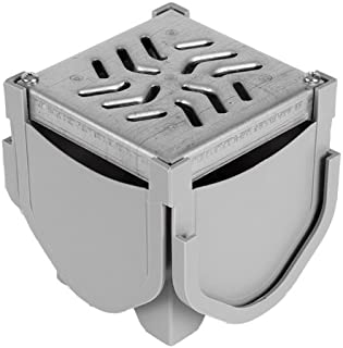 Source 1 Drainage Driveway Channel Drain Quad Connector with Galvanized Steel Grate