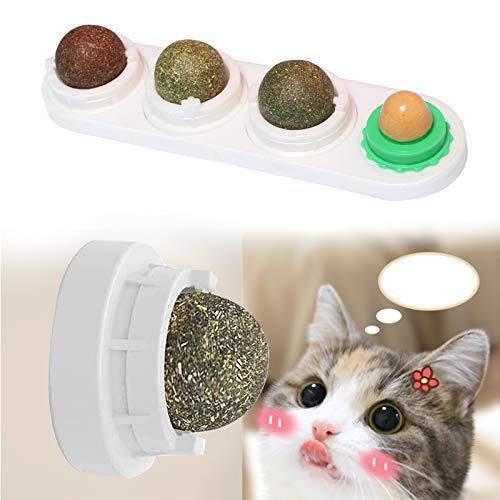 BERYCH Drehbare Katzenminze, 4 in 1 Selbstklebende Katzenminze mitKatzensnacks für Katze, katzenminze Spielzeug, mit denen Katzen Zähne knirschen,Steigern Sie den Appetit