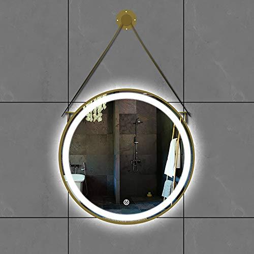 GETZ Espejo de Baño Redondo con Iluminación LED, Montada en la Pared Marco de Metal Redondo Espejo de Tocador con Interruptor Táctil, Espejo de Tocador, Negro/Dorado