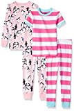 Spotted Zebra Girls' Toddler Snug-Fit Cotton Pajamas Sleepwear Sets, 4-Piece Holiday Penguins, 4T