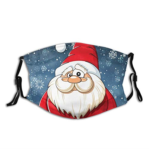 Christmas Santa Claus Face Mask for Adults, Reusable Fabric Cloth Fashion Scarves Waterproof With 2 Filters, for Men Women
