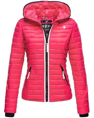 Navahoo Damen Jacke Steppjacke Übergangsjacke gesteppt Herbst Kapuze B811 [B811-Kim-Pri-Pink-Gr.L]