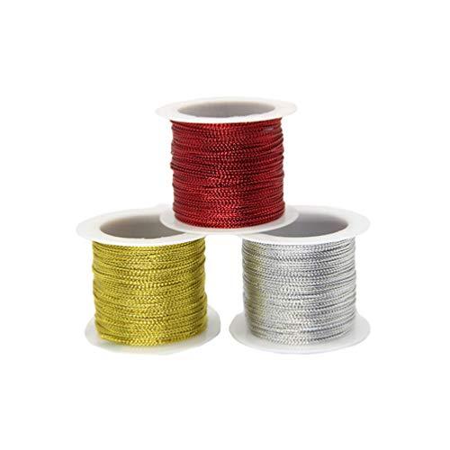 Healifty Metallschnur Label Schnur Handwerk Seil zum Verzieren Hängen Dekorieren Geschenkverpackung Basteln 20M 3St (Gold Silber Und Rot)