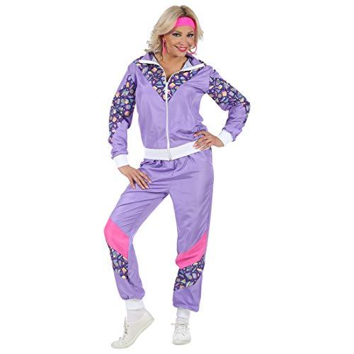 NET TOYS Auffälliger Jogging-Anzug Tussi | Violett in Größe XL (46/48) | Schrilles Damen-Kostüm 80er Jahre Trainingsanzug Ghetto Queen | Wie geschaffen für Mottoparty & Bad Taste Party