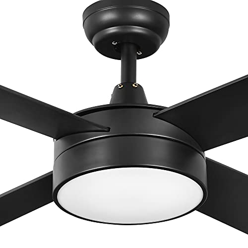 YITAHOME Ceiling Fans Indoor Outdoor with Light, 52 Inch Fanlight with Remote, 3 Color Temperature, 3 Speed, Reversible Motor, Timing, 2 Down-rods & Balance Kit (Black)