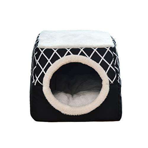 ChuangRong Cueva de Gato Cachorro Plegable Cama para Mascotas Nido Acogedor Calentito con Cojín Extraíble Casa Sofá para Perro Pequeño Gato Negro L