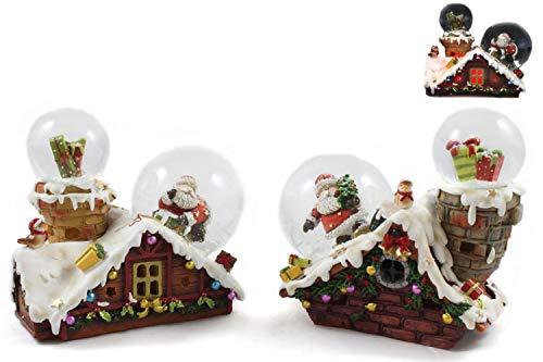 Creation Gross 2X Weihnachtshaus mit je 2 Schneekugeln und Licht, 12.8cm, 2fach(4900730)