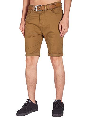 ITALY MORN Pantalones Cortos Bermuda Básica Tipo Chino para Hombre Vestir Ajustados(S, Marrón)