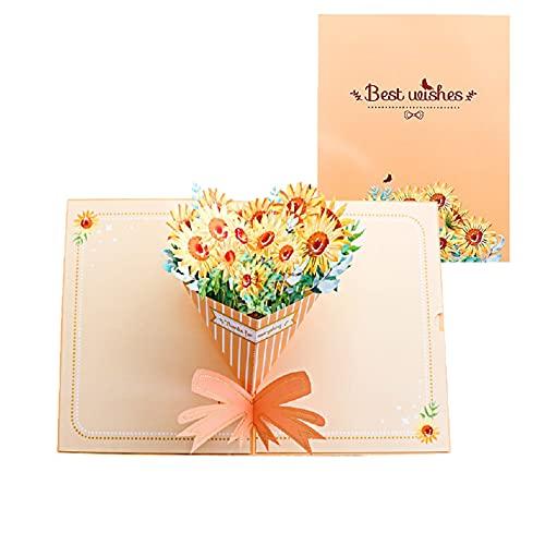 立体 バースデーカード 花 グリーティングカード 母の日 カードの花 3dポップアップカード 誕生日 メッセージカード 結婚 出産 感謝 お誕生日 カード (ヒマワリ)