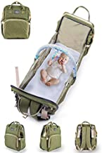 Diaper Bag Backpack With Changing Station with Free Toy bar, Waterproof Travel Pad, Poo Bag By Little Carrots.Portable Crib, Unisex, Multifunctional Mummy Bag Perfect Baby Shower Gifts for New Parents