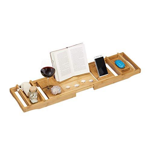 Relaxdays Bambus Badewannenablage, 109 cm, ausziehbar, Weinhalter, Buchstütze, Seifenablage, Badewannenaufsatz, natur