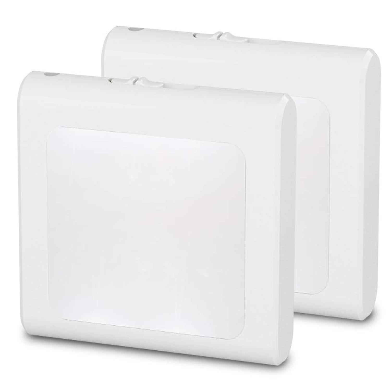 MAZTEK MZ3092LJ ナイトライト挿入式LED足元灯、夜間センサー付き、明るさとスイッチ調節可能常夜灯、リビングルーム、寝室、キッチン、廊下、階段に適用、白, 2個セット