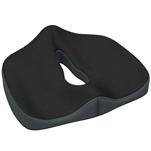 Tuneway Cushion Orthopedic Tailbone Seat Cushion for Office Chair,Car,Truck,Wheelchairs,Etc. - Provides Relief for Lower Back Pain,Tailbone,Sciatica,Pelvic Pain,Prostate,Etc Black