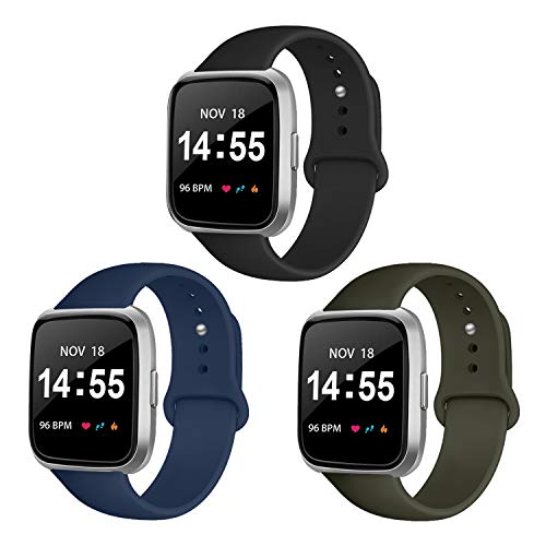 YOUKEX 3 Pack Silicone Sport Bands Compatible with Fitbit Versa 2 / Fitbit Versa/Versa Lite/Versa SE, Classic Soft Silicone Replacement Wristbands for Fitbit Versa Smart Watch Women Men Louisiana