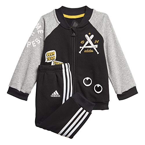 adidas I Coll TS Ft Sportanzug Unisex Kinder, Unisex Kinder, FM6405, schwarz/brgrin/weiß, 92