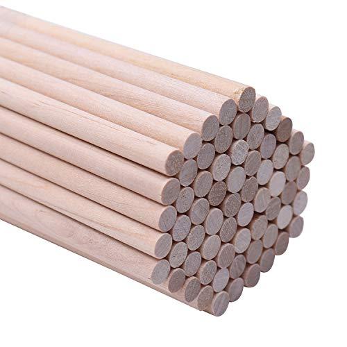 BELLE VOUS Holzstäbe (100 teilige) - 30cm x 5mm Runden Naturholz Dübelstangen - Holzstäbchen für Basteln, Dekoration - Bastelstäbe für Kunst und Handwerks Projekte