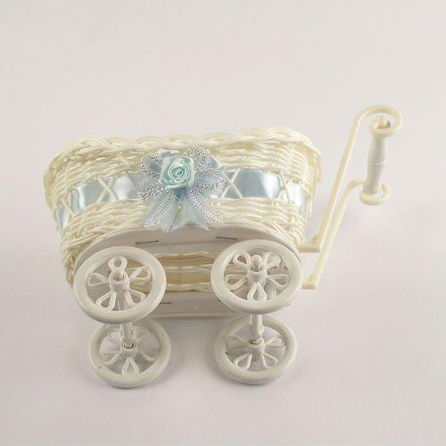 Meena Supplies SMALL or LARGE Baby Pram Hamper Wicker Basket (Blue, Small)