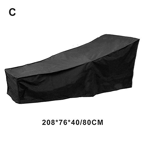 N/G 82 Pouces étanche Patio Chaise Lounge Cover Garden Sun Lounge Cover Garden Patio Furniture Sunbed Cover 210x75x40-80cm - Black-24 Months of Use
