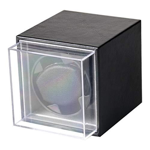 WYBFZTT-188 Caja de bobinado de Reloj mecánico Negro con Funda Protectora Transparente...