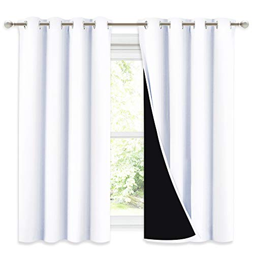 NICETOWN 100% Blackout Curtains 54 inches Long, Double-Deck Completely Blackout Window Treatment Thermal Insulated Lined Drapes for Small Window (White, 1 Pair, 52 inches Width Each Panel)