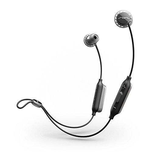 Sol Republic: Auriculares inalámbricos con Bluetooth en la Oreja, hasta 8 Horas de música, Resistente al Agua y al Sudor, Tecnología de protección contra caídas FreeFlex, Diseño de luz Uitra, Gris