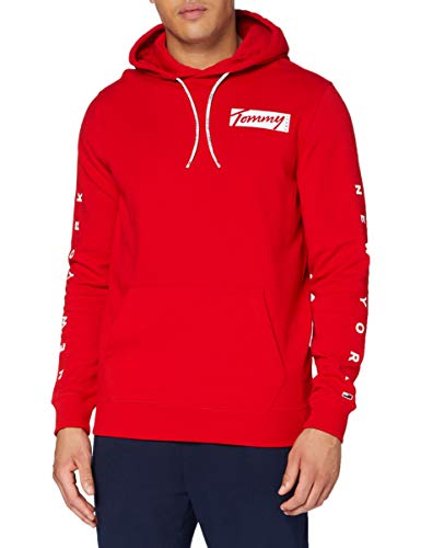 Tommy Jeans TJM Essential Graphic Hoodie Suéter, Rojo (Deep Crimson), X-Small Hombre