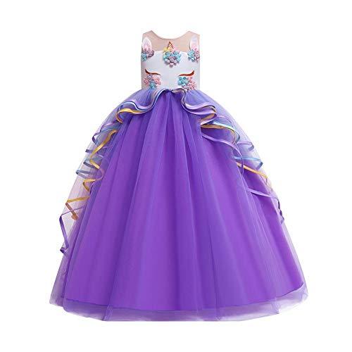 OwlFay Disfraz de Unicornio Niñas Chicas Vestido Unicornio Princesa Traje de Carnaval Cumpleaños Comunión Cosplay Costume 4-15 Años