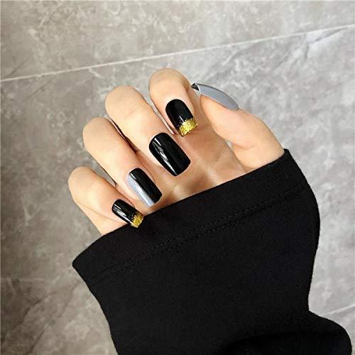 TJJL Faux ongles 24 Pcs Noir Et Gris Gradient Ins Style Gommage Portable Faux Presse Sur Les Ongles Or Glitter Long Carré Ongles Artificiels Avec De La Colle