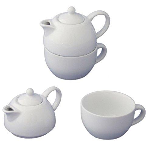 Megaprom 175ml Porzellan Tea for One Kaffeekanne, Teekanne, Teeservice, Kaffeeservice, Kanne mit Deckel Set