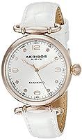 [アクリボス XXIV]Akribos XXIV 腕時計 Round Silver Dial Two Hand Quartz White Strap Watch AK878WTR レディース [並行輸入品]