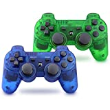 Vinklan PS3 Controller Wireless Double Shock Gamepad for Playstation 3, Six-Axis Wireless PS3 Controller with Charging Cable (Sapphire Blue & Jungle Green)