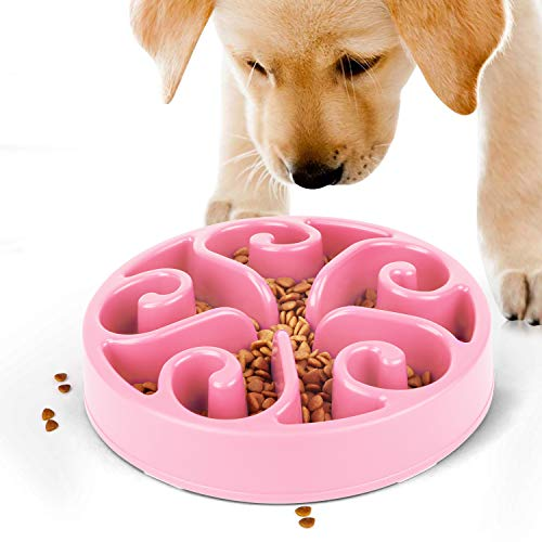 JASGOOD Slow Feeder Dog Bowl Slow Eat Feeder for Fun Slow Feeding Interactive Bloat Stop Dog Bowls(Pink).