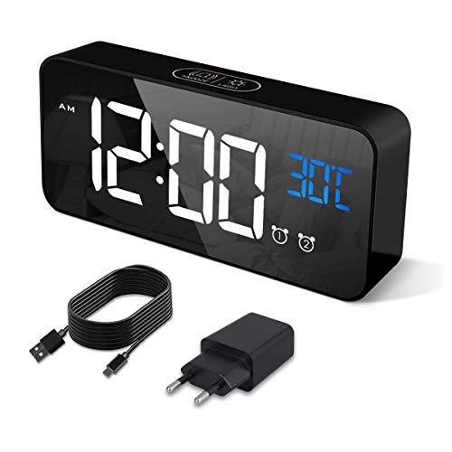 HERMIC Sveglia Digitale, Sveglia da Comodino con Temperatura, Orologio digitale con 2 Allarme, Snooze, 4 Livelli di luminosità, Controllo Vocale, USB Ricaricare, Sistema 12 24 Ore (Nero)