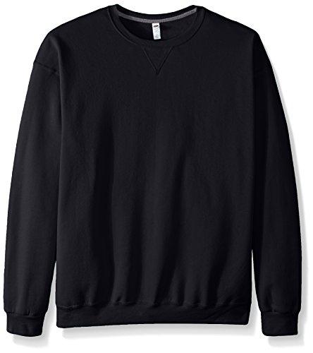 Fruit of the Loom Men's Fleece Crew Sweatshirt, Black, Large