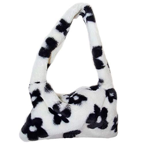 SOIMISS Frauen Plüsch Umhängetasche Blumenmuster Achsel Tasche Winter Warme Dame Schulter Handtasche Mini Umhängetasche Geldbörse Geschenk für Kinder Kleinkind Mädchen