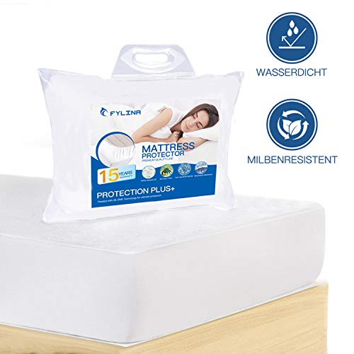 FYLINA Matratzenschoner Wasserdichter Matratzenauflage 90x200cm Atmungsaktive Anti Allergisch Gegen Milben und Schimmel Matratzenschutz Matratzenbezug mit Neuartiger Behandlung Optimaler Schutz