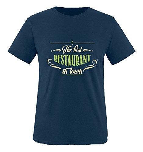 Comedy Shirts - The Best Restaurant in Town - Herren T-Shirt - Navy/Beige-Hellgrün Gr. XXL