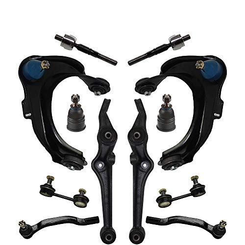 Detroit Axle - 12pc Front Upper Lower Control Arms w/Ball Joints, Inner Outer Tie Rods, Sway Bars Kit Replacement for 1998-2002 Honda Accord 3.0L Sedan V6 Sedan - [1998-2000 Accord Coupe]