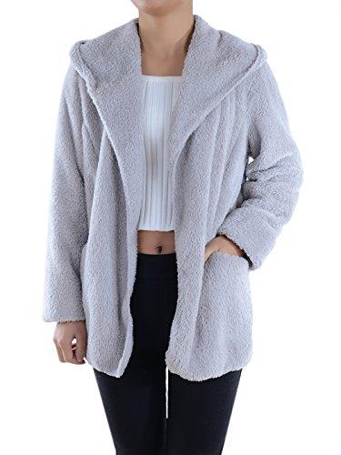 Anna-Kaci dames pluche voetstuk lange mouwen knuffelig jack zak jas fleece jas teddy jas gebreide jas