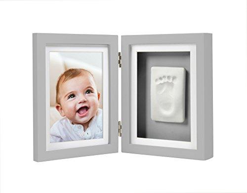 Pearhead Babyprints pasgeboren hand/voetafdruk Keepsake Bureau fotolijst, doop of doop cadeau voor kleine, grijs