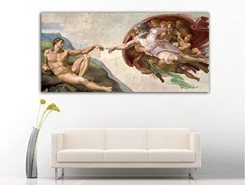 Cuadro Lienzo La creacion de Adan de Michelangelo Buonarrotti Miguel Angel - Lienzo de Tela Bastidor de Madera de 3 cm - Fabricado en España - Impresión en Alta resolución – Varias Medidas (60, 27)