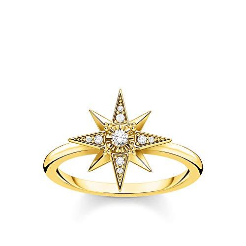 THOMAS SABO Anillo de mujer con estrella de oro de plata de ley 925, chapado en oro amarillo 750, TR2299-414-14